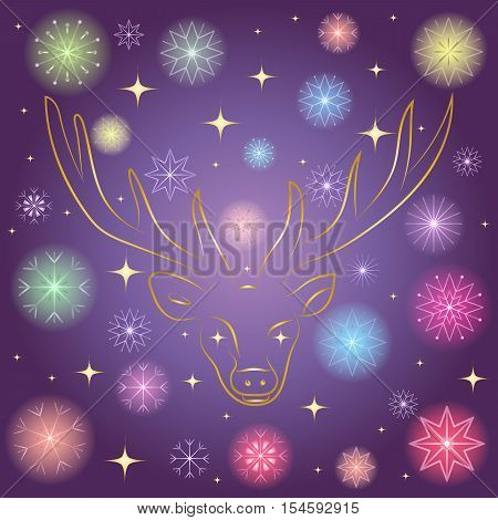 Colorful Shinning Snowflakes and Golden Stars. Hand Drawn Golden Silhouette of Reindeer on Night Sky. Perfect for Festive Design.