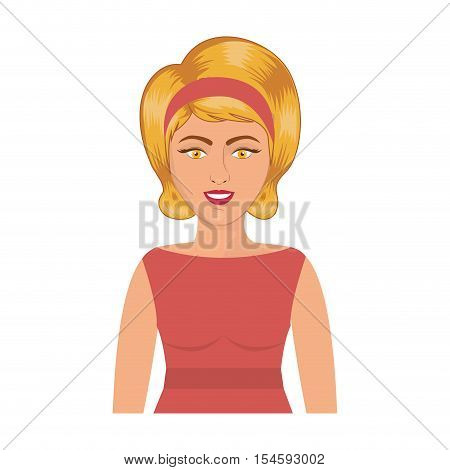half body blonde woman with headband vector illustration