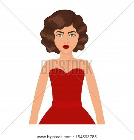 half body woman with red prom dress and eighties hairstyle vector illustration