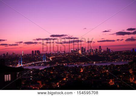 Istanbul Bosporus Bridge and the city on a sunset