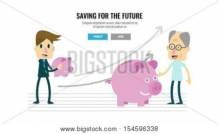 businessman and growing piggybank with timeline. retirement savings concept. flat character design. vector illustration