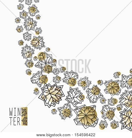Swirl snowflakes concept design. Polygonal trendy style snowflakes on white gold background. Winter holidays snowfall design. Vector illustration stock vector.