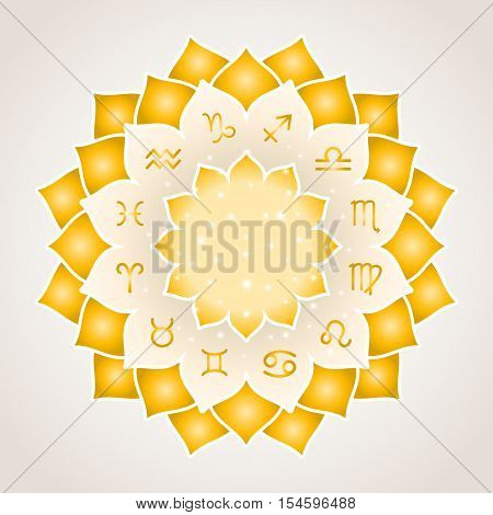 Astrology circle with signs of zodiac. Gold frame with zodiac astrological symbols. illustration