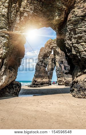 Natural Rock Arches Cathedrals Beach (playa De Catedrales) Spain.