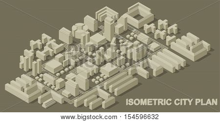 City isometric plan with road and urban silhouette of building. Big set of city abstract buildings and roads. Vector illustration