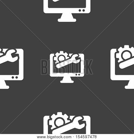 Repair Computer Icon Sign. Seamless Pattern On A Gray Background. Vector