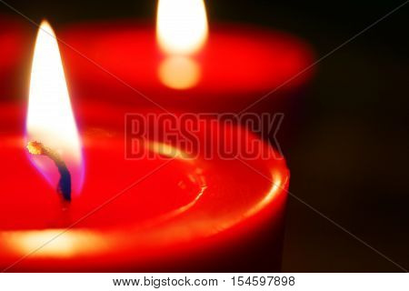 Red candles with focus on the first candle