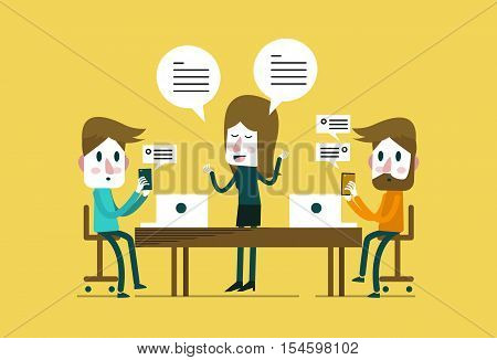 Executive woman presentation with distracted people playing with smartphones. smart phone addiction. flat design elements. vector illustration