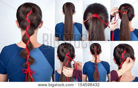 Hairstyle for long hair. Simple braid hairstyle with red tape for celebration new year. Hairstyle. Tutorial. Hair model. Holiday party hair