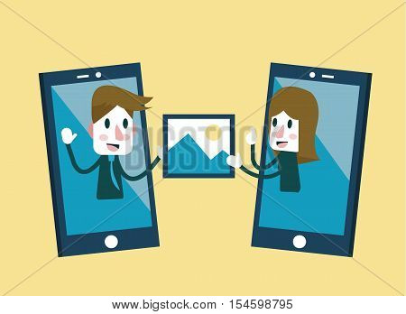 Man and woman sending and share picture on smartphone. flat character design. vector illustration