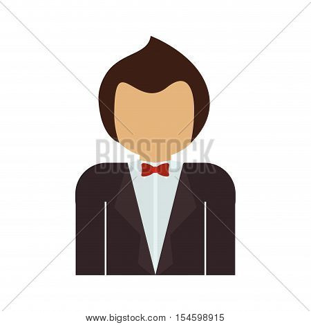 half body man with formal suit and bowtie vector illustration