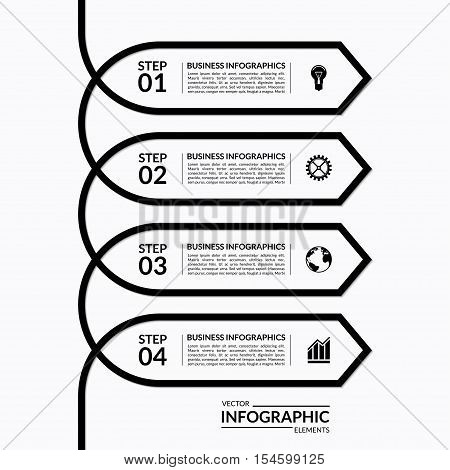 Simple infographic arrow template. Vector banner with 4 options, steps, parts. Can be used for diagram graph, chart, report, plan, step options, strategy, web design