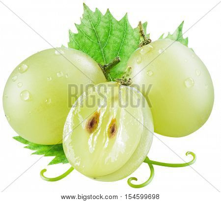 White grape berries with green leaf. Clipping paths.