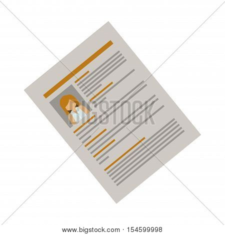 side document with woman curriculum vitae vector illustration