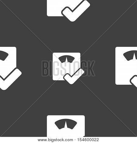 Bathroom Scales Icon Sign. Seamless Pattern On A Gray Background. Vector