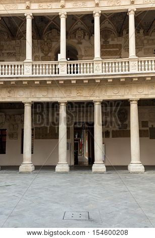 PADUA, ITALY - MAY3, 2016: Palazzo Bo historical building home of the Padova University from 1539 in Padua Italy