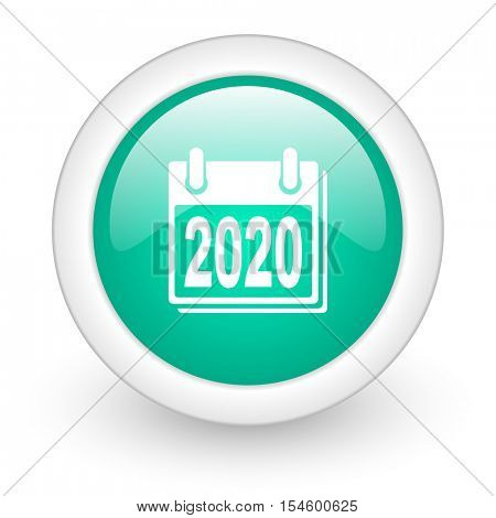 new year 2020 round glossy web icon on white background