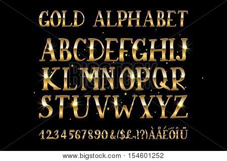 Vector illustration volumetric gold letters on a black background. English alphabet with numbers. Large and small letters.