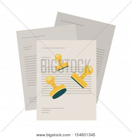silhouette with bills to pay and stamp shape vector illustration
