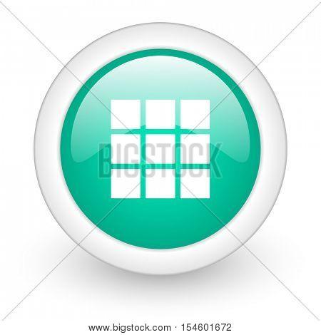 thumbnails grid round glossy web icon on white background