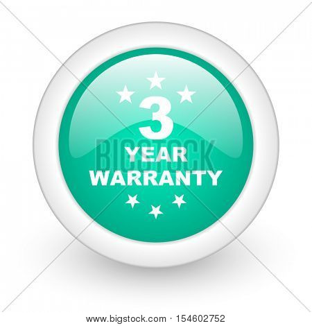 warranty guarantee 3 year round glossy web icon on white background