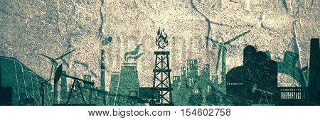 Energy and Power icons set. Header or footer banner. Sustainable energy generation and heavy industry. Concrete textured