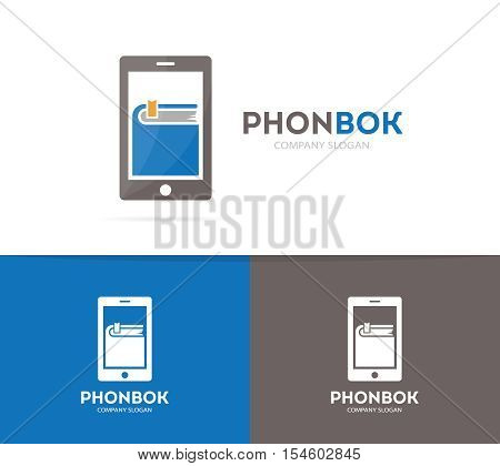 Vector book and phone logo combination. Novel and mobile symbol or icon. Unique bookstore and library logotype design template.