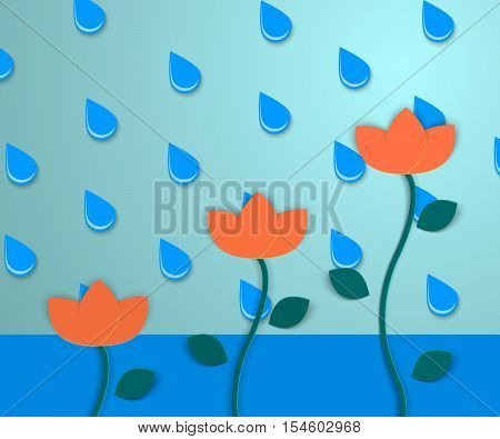 Background with flowers and with water and raindrops