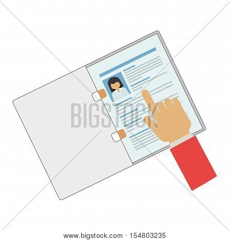 hand pointing a curriculum vitae vector illustration