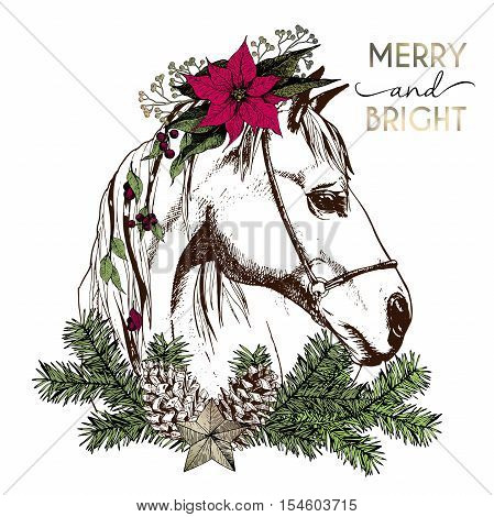 Vector portrait of boho Christmas horse. Decorated with winter floral wreath and fir branch pinecone and star. Hand drawn vintage engraved style. Christmas decoration greeting card gift and party