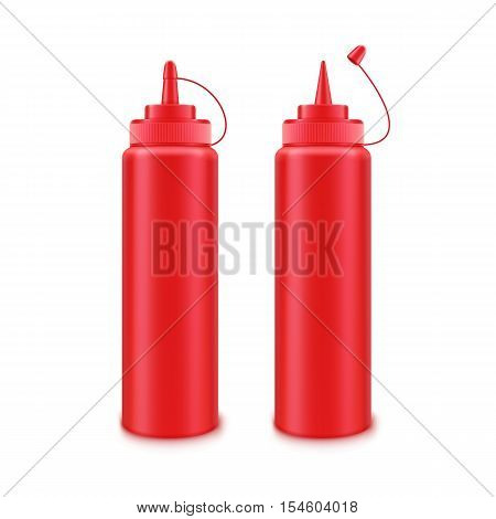 Vector Set of Blank Plastic Red Tomato Ketchup Bottle for Branding without label Isolated on White Background