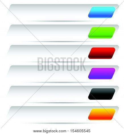 Buttons, Banners In Several Color. Horizontal Button Shape Set.