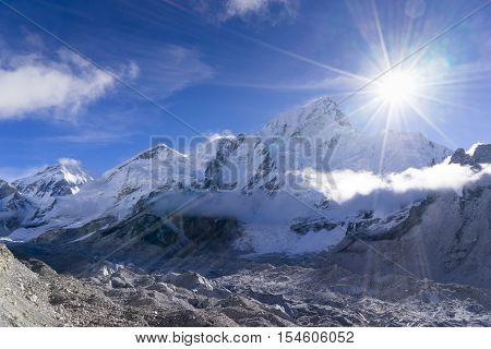 Beautiful landscape of Everest and Lhotse peak from Gorak Shep. During the way to Everest base camp. Sagarmatha national park. Nepal.