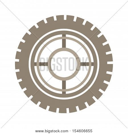 brown silhouette gear wheel icon vector illustration