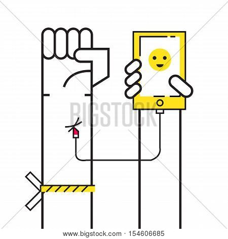 Smartphone Addiction concept. Connect smartphone to hand blood. flat design elements. vector illustration