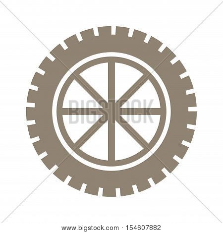 silhouette gear wheel icon with lines vector illustration