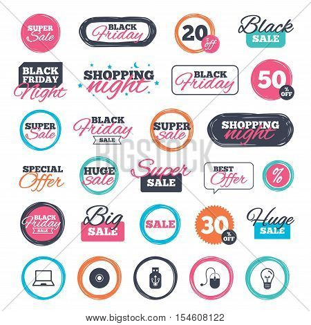 Sale shopping stickers and banners. Notebook pc and Usb flash drive stick icons. Computer mouse and CD or DVD sign symbols. Website badges. Black friday. Vector