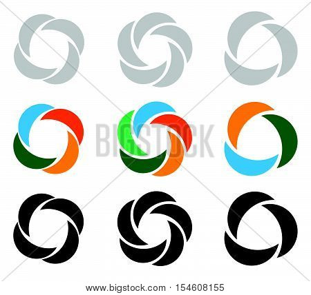 Modern Flat Circular Icons In 3 Version - Segmented Circle Icons