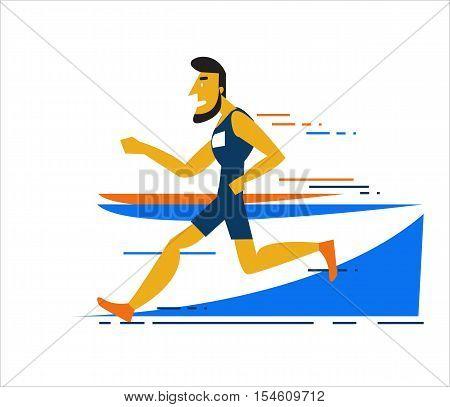 Professional Man Running On The Running Track. Flat Character Design. Vector Illustration