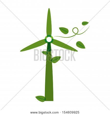 green silhouette wind power generator with leaves vector illustration