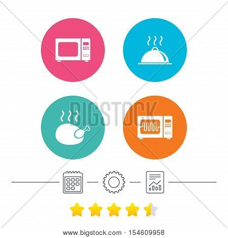 Microwave grill oven icons. Cooking chicken signs. Food platter serving symbol. Calendar, cogwheel and report linear icons. Star vote ranking. Vector