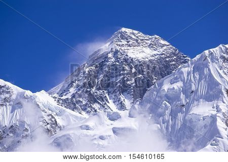 closed up view of Everest peak from Gorak Shep. During the way to Everest base camp. Sagarmatha national park. Nepal.