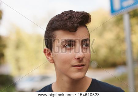 Cool teenager with fifty years old outside