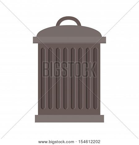 trash bin with lid and striated vector illustration
