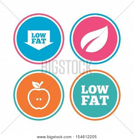 Low fat arrow icons. Diets and vegetarian food signs. Apple with leaf symbol. Colored circle buttons. Vector