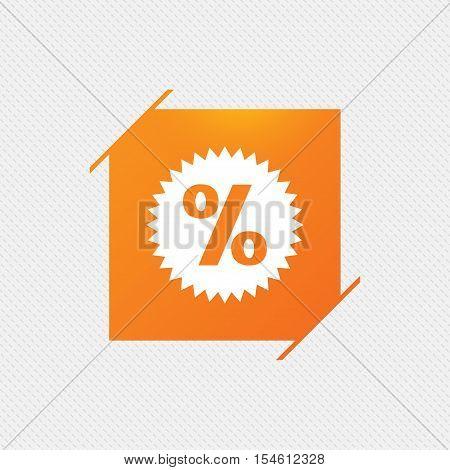 Discount percent sign icon. Star symbol. Orange square label on pattern. Vector