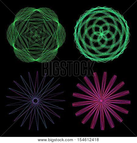 Set of mandalas. The ornament a circular geometric pattern frames spirogram. Oriental pattern. Concentric radiating graphic. Abstract circular spiral element. Vector illustration on isolated background.