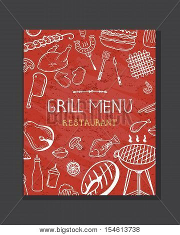 Grill menu concept. Grill menu for restaurants steak house bars and snack-bar. Hand drawn doodle BBQ and grill menu design. Restaurant menu vector illustration.