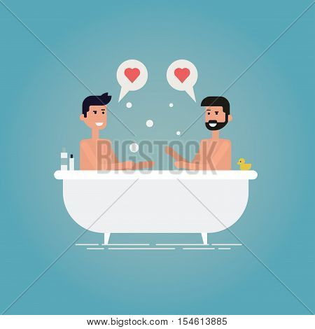 Gay relationship concept vector illustration of a young male couple. Two guys take a bath together. Lovers are happy sitting in a bath with a toy duck bubbles and shampoo. LGBT.