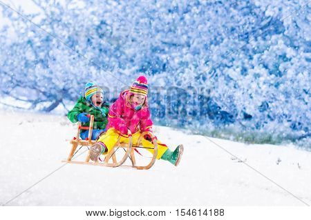 Kids Having Fun On Sleigh Ride